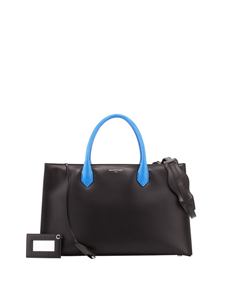 Padlock Nude Works Tote Bag, Black/Cobalt