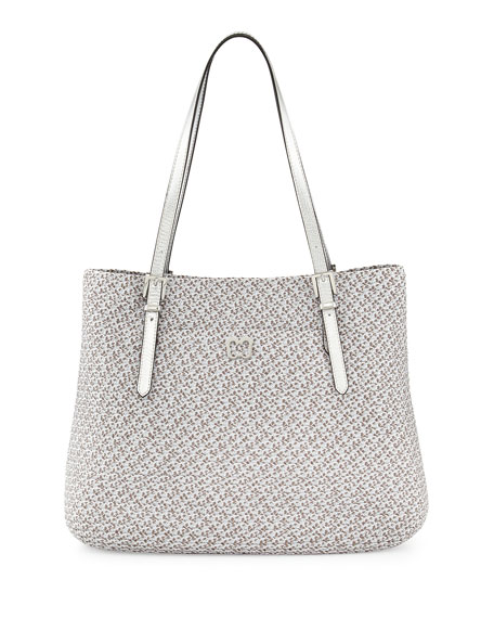 Squishee Jav II Metallic Tote Bag, Silver