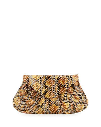 Lotte Serpent-Embossed Envelope Clutch Bag, Mustard