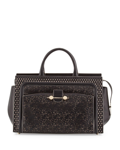 Jason Wu Daphne Laser-Cut East-West Tote Bag, Black