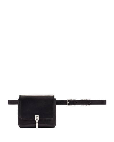 Cynnie Leather Belt Bag, Black