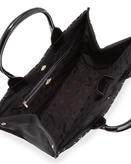 44e51c151 Tory Burch Ella Quilted Nylon Tote Bag, Black/Gold