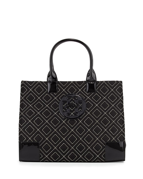 Tory Burch Ella Quilted Nylon Tote Bag, Black/Gold : quilted black tote bag - Adamdwight.com