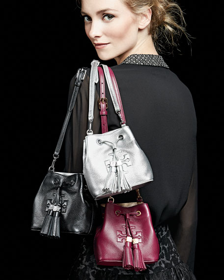 Thea Mini Crossbody Bucket Bag, Black