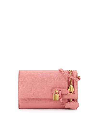 Alix Small Zip & Padlock Crossbody Bag, Pink