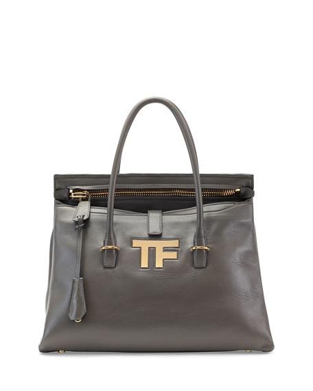 TOM FORDTF Icon Medium Satchel Bag, Dark Gray