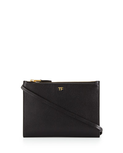 Triple-Zip Crossbody Bag, Black