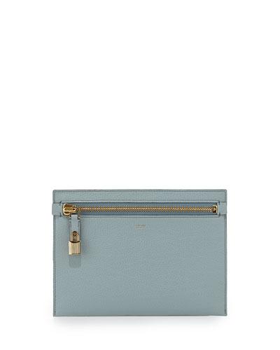 Large Calfskin Zip Clutch Bag, Light Blue