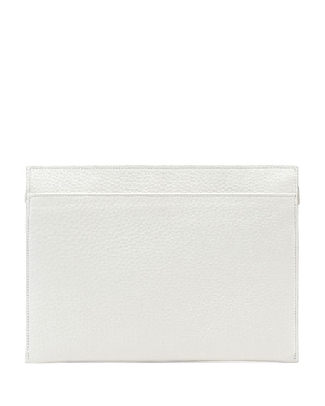 Large Calfskin Zip Clutch Bag, White