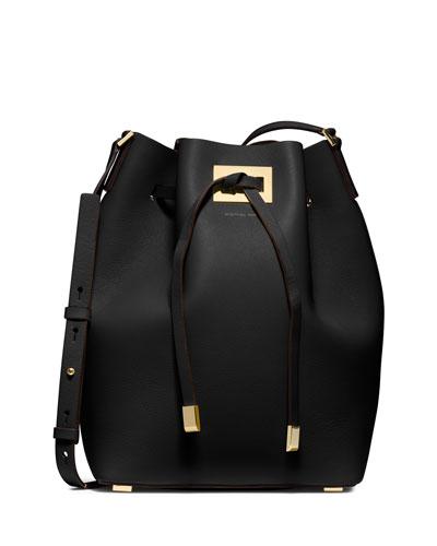 Miranda Large Drawstring Messenger Bag, Black