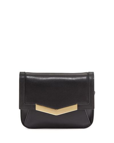 Calfskin Chevron-Detail Belt Bag, Black