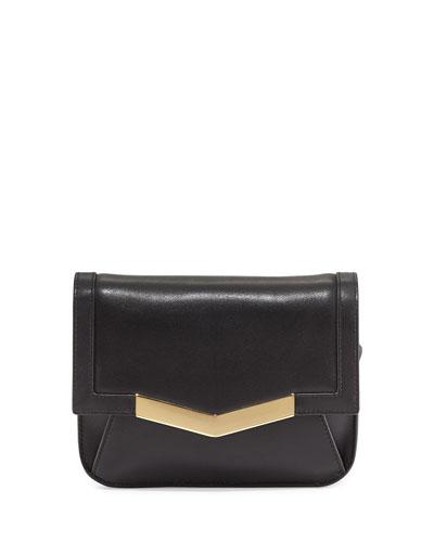 Calfskin Chevron-Detail Belt Bag, Black