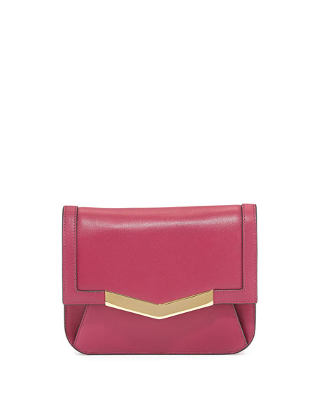 Time's Arrow Calfskin Chevron-Detail Belt Bag, Dahlia