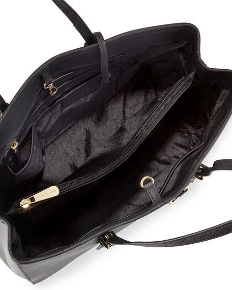 Jet Set Large Saffiano Travel Tote Bag, Black