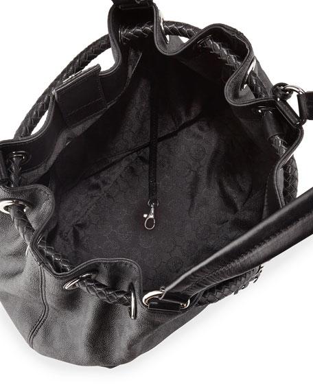 Jet Set Large Gathered Tote Bag, Black