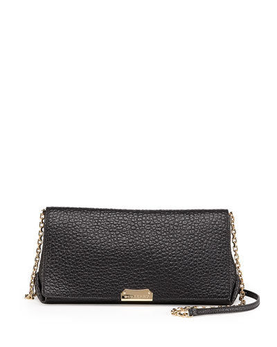 Pebbled Flap Crossbody Bag, Black