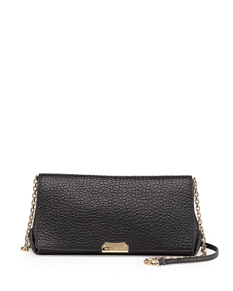 Burberry Pebbled Flap Crossbody Bag, Black