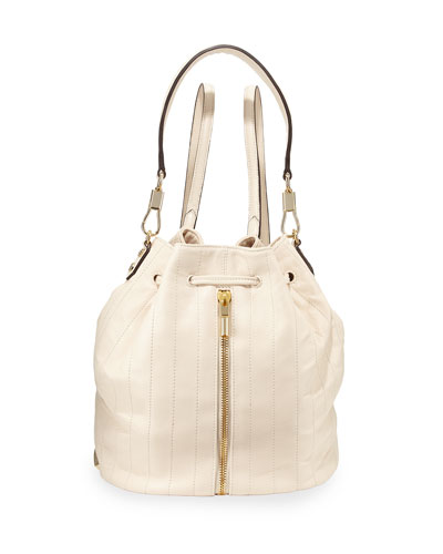 Cynnie Quilted Leather Drawstring Backpack, Cream