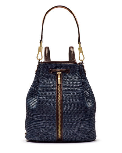 Cynnie Woven Sling Bag with Leather Trim, Indigo