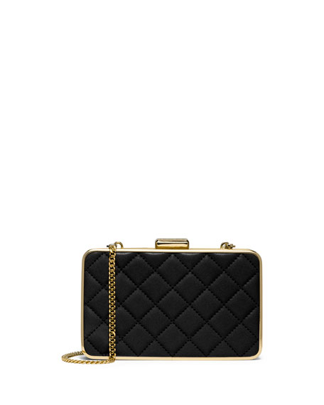 Elsie Quilted Box Clutch Bag, Black