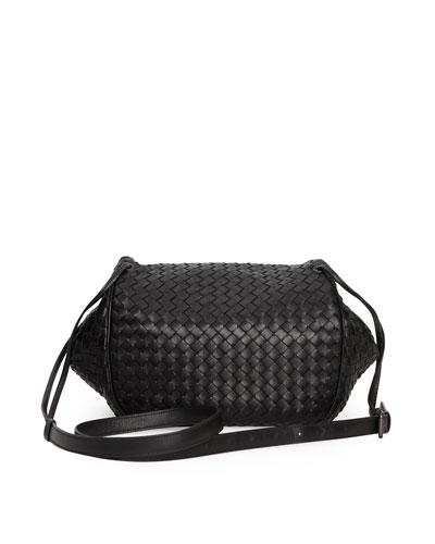 Intrecciato Small Flap Messenger Bag, Black