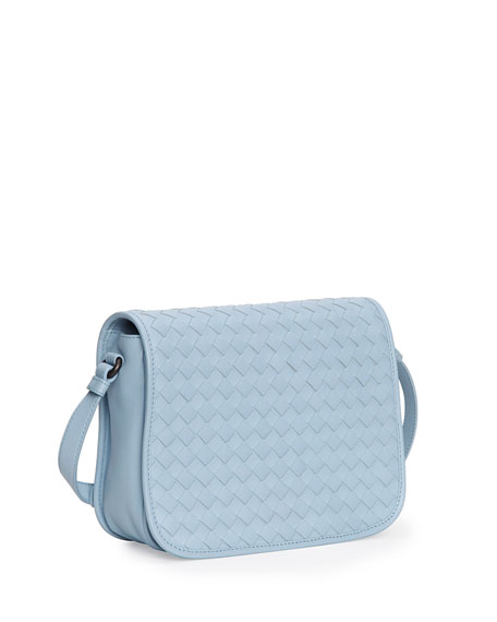 Small Woven Flap Crossbody Bag Light Blue