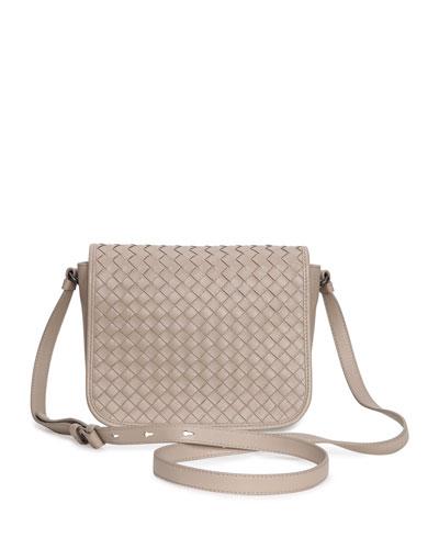 Small Woven Flap Crossbody Bag, Beige