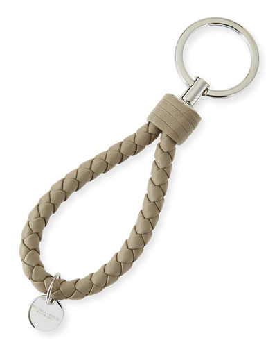 Intrecciato Leather Loop Key Chain, Beige