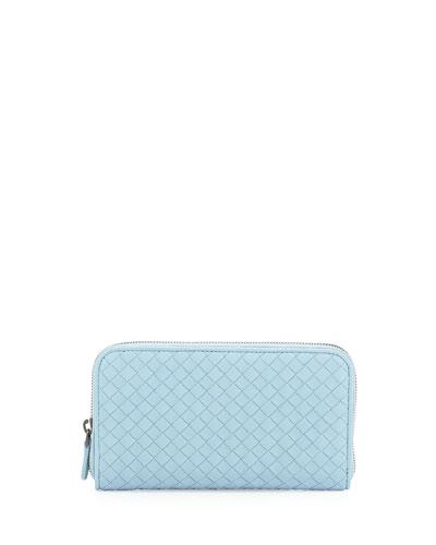Continental Zip-Around Wallet, Light Blue