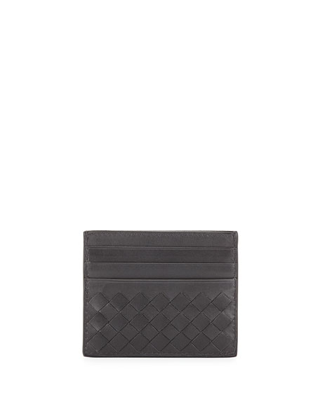 Woven Leather Credit Card Sleeve, Charcoal