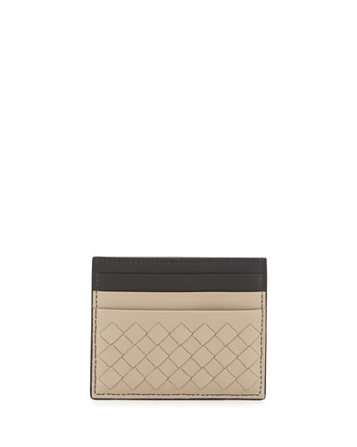 Intrecciato Leather Card Case, Beige Multi