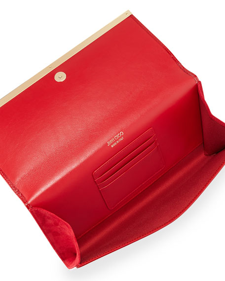 Maia Patent Leather Clutch Bag, Red