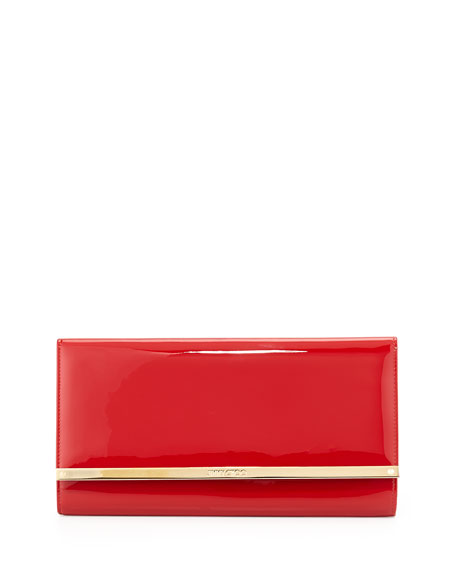 Jimmy Choo Maia Patent Leather Clutch Bag, Red