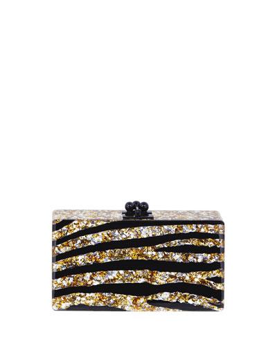 Jean Acrylic Zebra Clutch Bag, Gold/Silver/Black