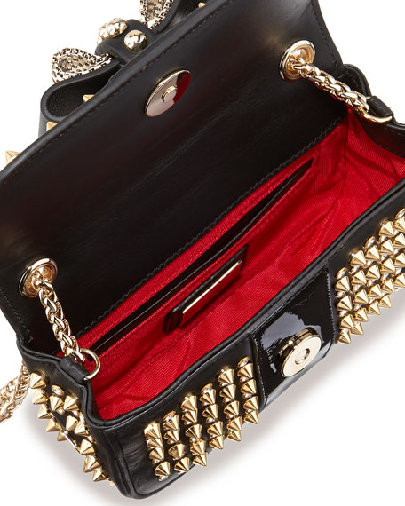 Sweet Charity Spiked Crossbody Bag, Black/Gold
