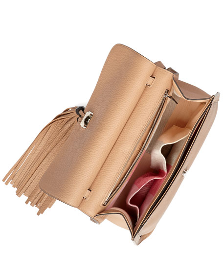 Bamboo Daily Leather Flap Shoulder Bag, Beige