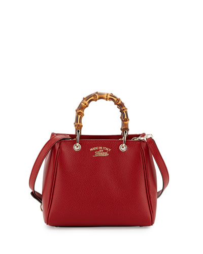 Bamboo Shopper Mini Leather Top Handle Bag, Red