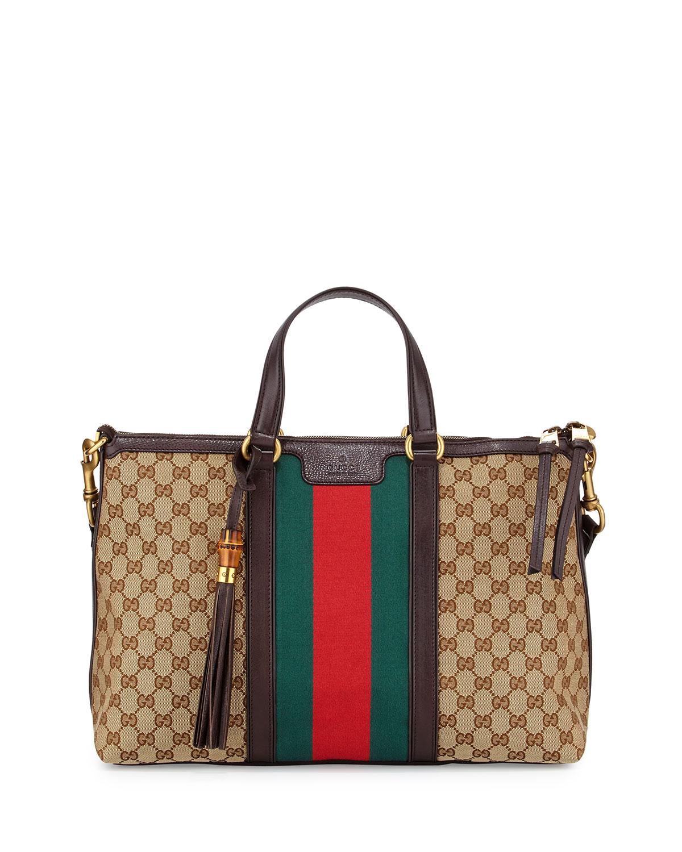 ff1591f9a2caa5 Gucci Rania Medium Canvas Tote Bag, Brown | Neiman Marcus