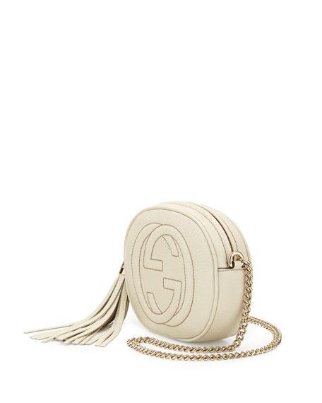 Soho Round Leather Crossbody Bag, White