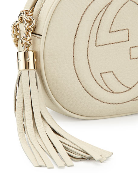 Soho Round Leather Crossbody Bag, White
