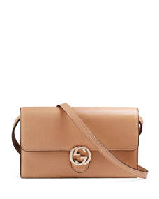 $547 Gucci Icon Leather Wallet with Strap, Beige
