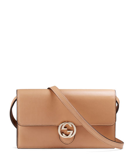 Icon Leather Wallet with Strap, Beige