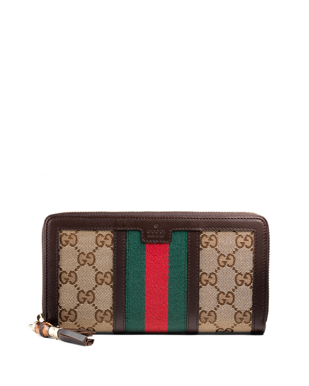 69ce6bec64bc Gucci Rania Original GG Canvas Zip Around Wallet, Brown   Neiman Marcus