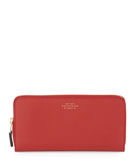 Smythson Panama Large Zip Wallet, Red
