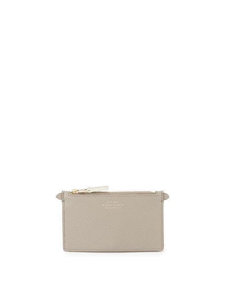 Smythson Panama Zip Pouch Key Ring, Gray