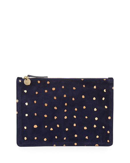 Dot Suede Zip Clutch Bag, Navy/Rose Gold