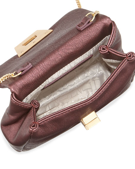 Jenna Faux-Leather Crossbody Bag, Wine Metallic