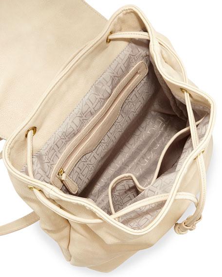 Sloane Snake-Embossed Faux-Leather Combo Backpack, Bone