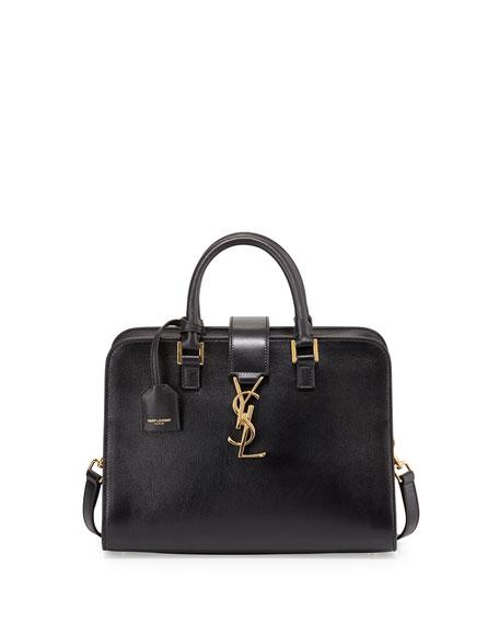 Saint Laurent Monogram Mini Zip-Around Satchel Bag, Black