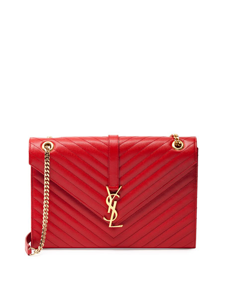Monogram Matelasse Shoulder Bag, Red